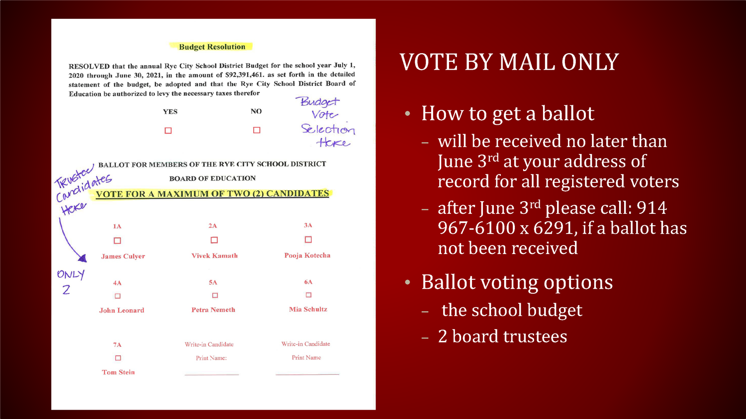 Vote By Mail Only Instructions